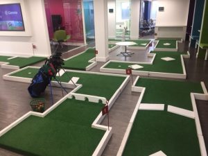 crazy golf hire inside office
