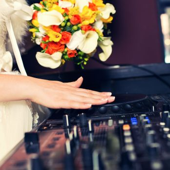 the bride the DJ at the wedding