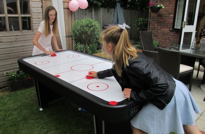 Air hockey hire for kids party; children's lockdown party idea