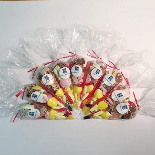 Array of branded sweet cones