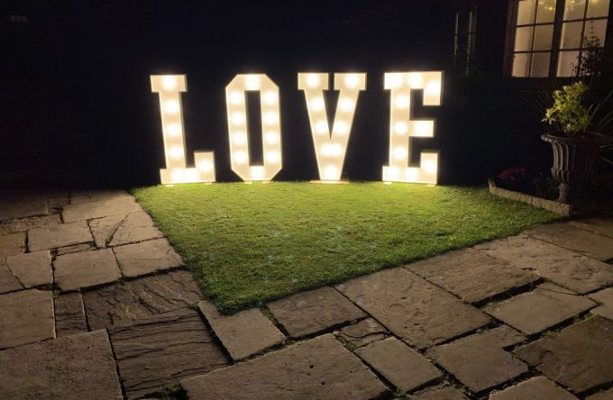 Hire giant led love letters london