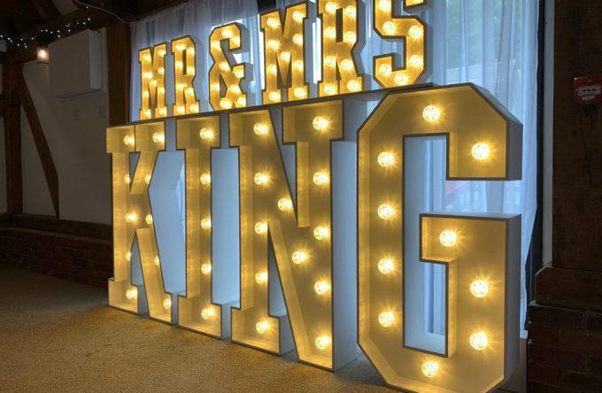 Hire light up mr and mrs lights