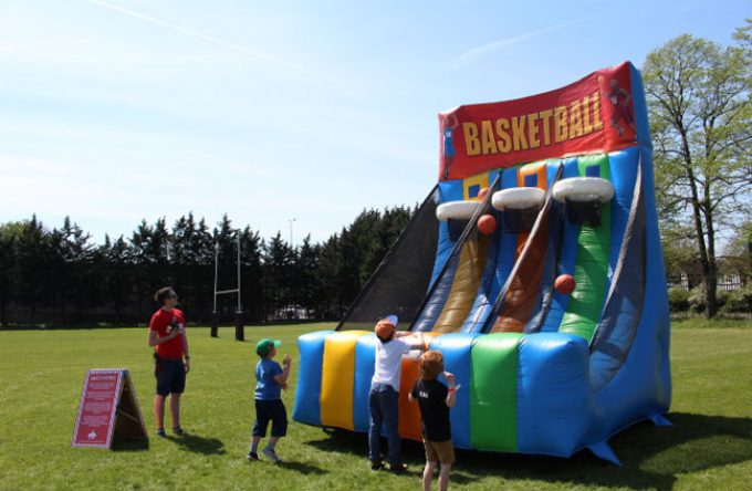inflatable basketball game for hire for sports day