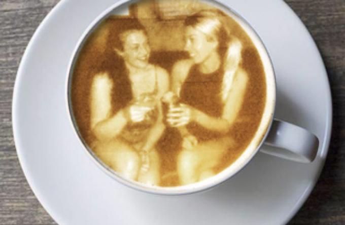 photo printed on coffee drink